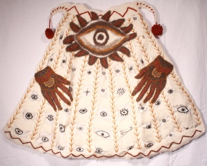 "CAPE OF PROTECTION, 31 x 42"", wool, cotton thread, wool yarn; handfelted, stitched, embroidered. 2007"